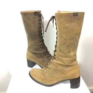 Distressed Camper Leather Boho Boots, Sz 38